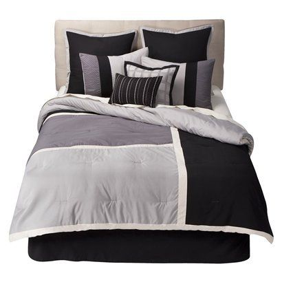 Bryant Color Squares 8 Pc Bed Set - Black/ GrayOpens in a new