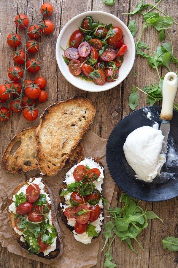 Tomato & Burrata Bruschetta - An Italian in my Kitchen