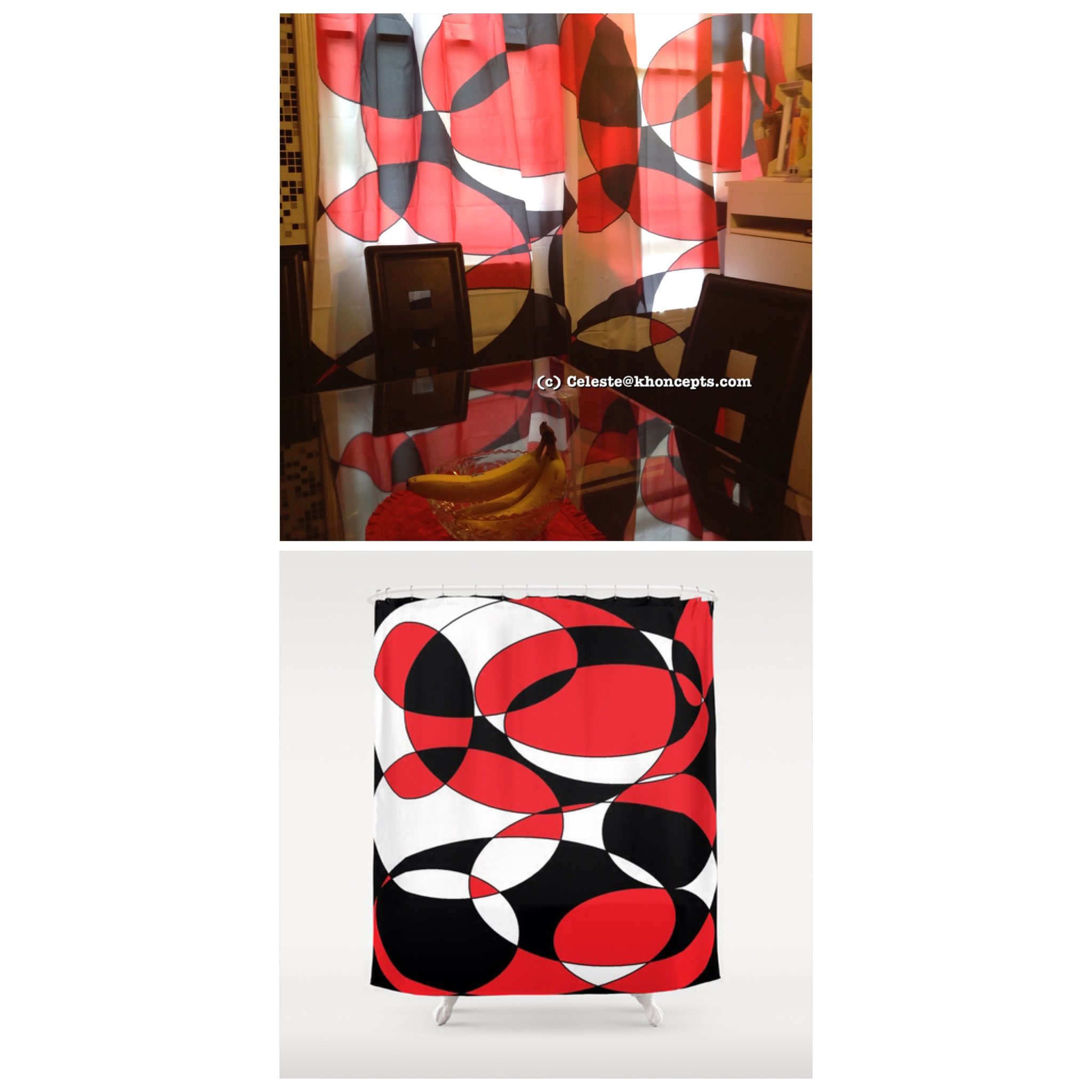 Black, White And Red Elliptical Design. Red BlackCurtains
