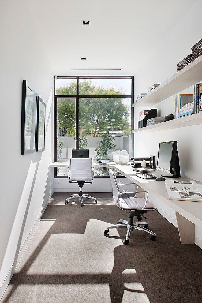 inspiring home office contemporary. Loving The All White Colour Scheme For A Home Office. ~ Lorey New - Brighton Contemporary Office Melbourne Darren Comber Inspiring