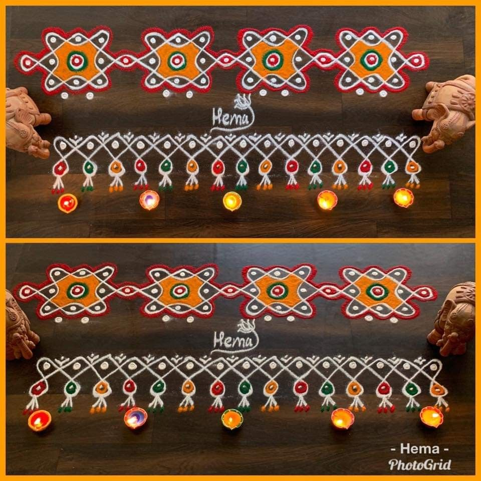 Border kolam Rangoli border designs, Simple rangoli