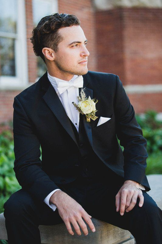 de32acfe7aba Formal groom outfit idea - black tux with white bow tie {Anna Lee Media}