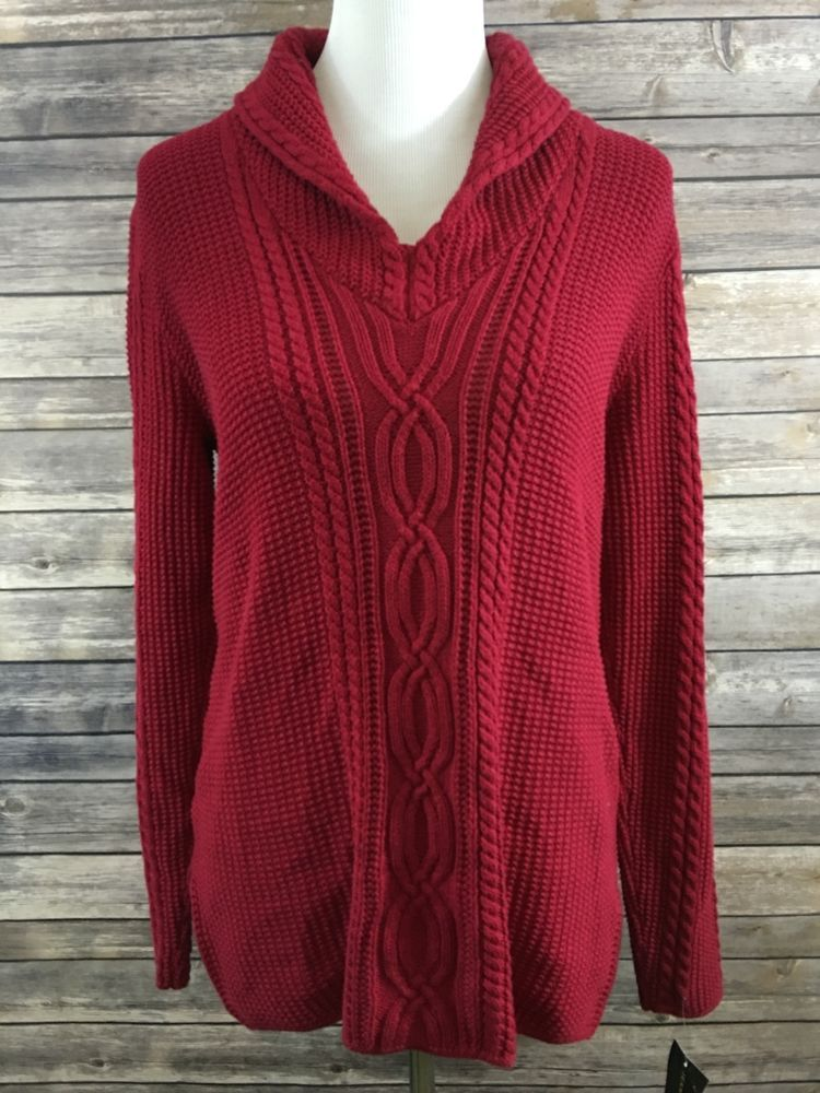 98a535ac1e Jeanne Pierre Women s Red Shawl Collar Cable Knit Long Sleeve Sweater  Medium NEW…