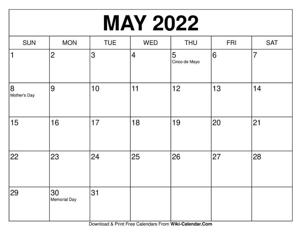 May 2022 Calendar In 2020 Calendar Template Calendar Print Calendar