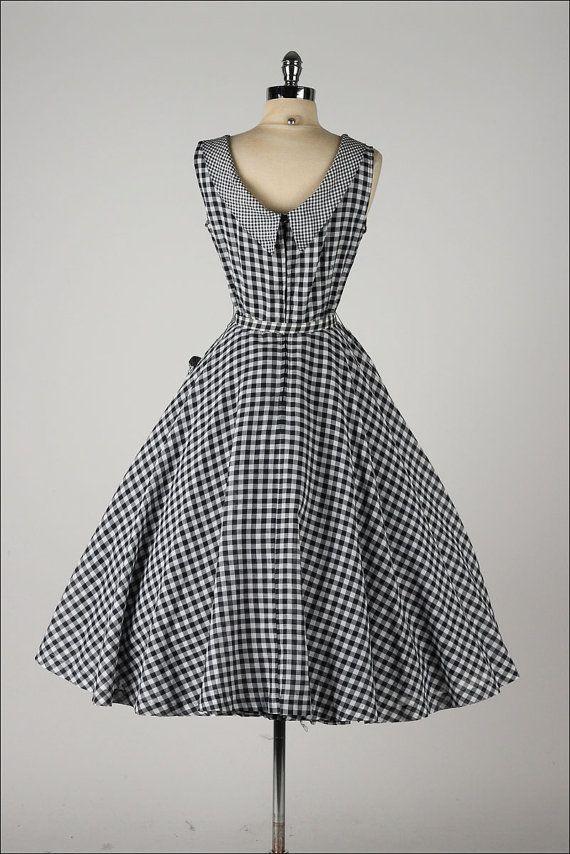 Vestido vintage de los a os cincuenta algod n vichy negro - Los anos cincuenta ...