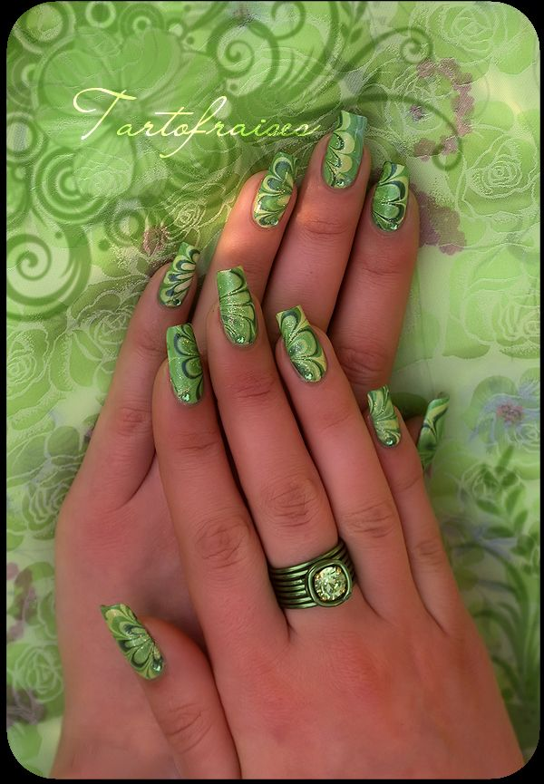 Poison Ivy Water Marble Nails Nails Pinterest Water Marble