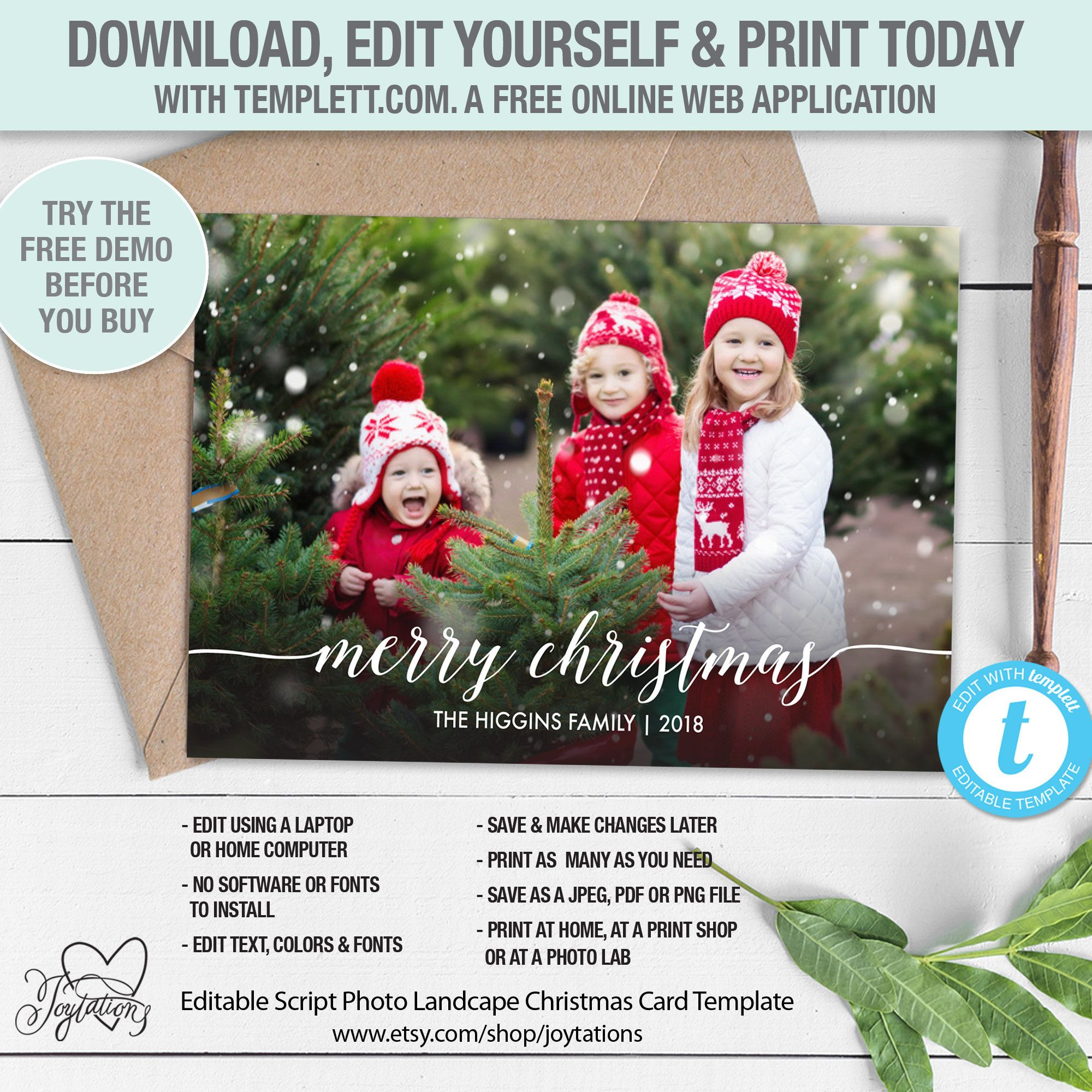 Editable Holiday Greeting Card With Photos Template Instant Etsy Christmas Cards Holiday Greeting Cards Cards