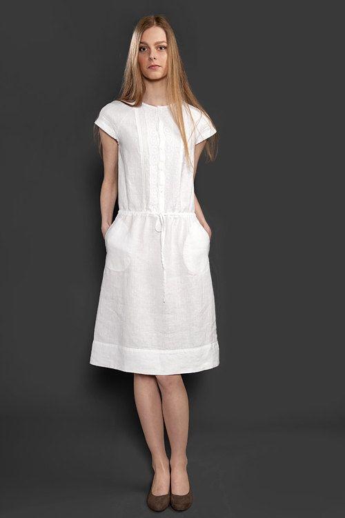 Vestido blanco de lino con encaje adornado vestido de lino puro ... c795469a1ecf