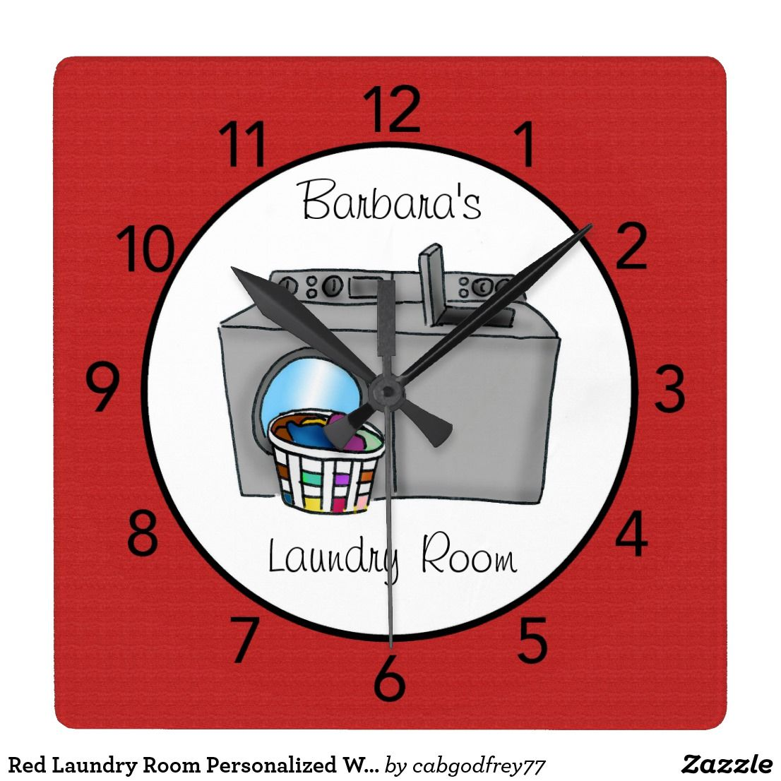 Red laundry room personalized wall clock clocks pinterest red laundry room personalized wall clock amipublicfo Images