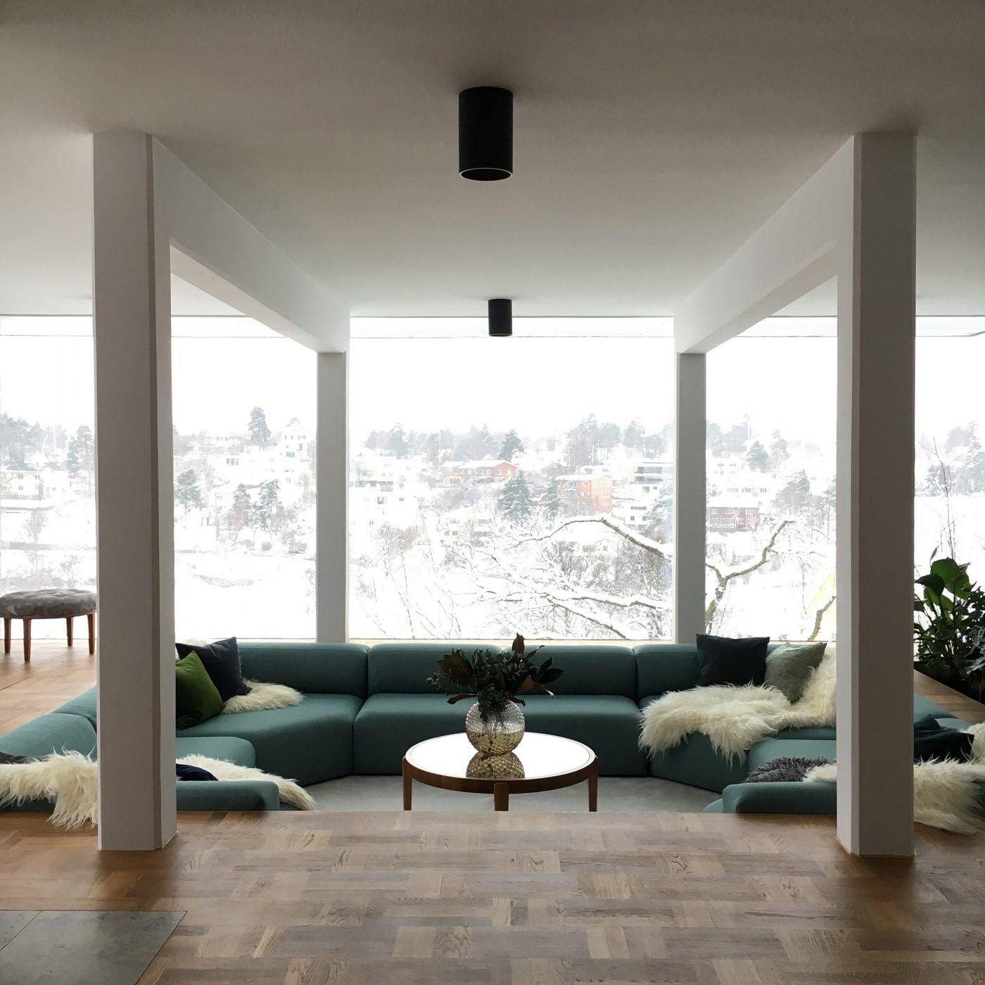 Sunken living room design by Joanna Lavén. conversation pit