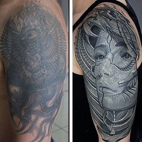 An Insane Cover Up Done By Visionstoskin Out Of 7 Train Tattoo Cover Up Tattoos Train Tattoo Black Tattoo Cover Up