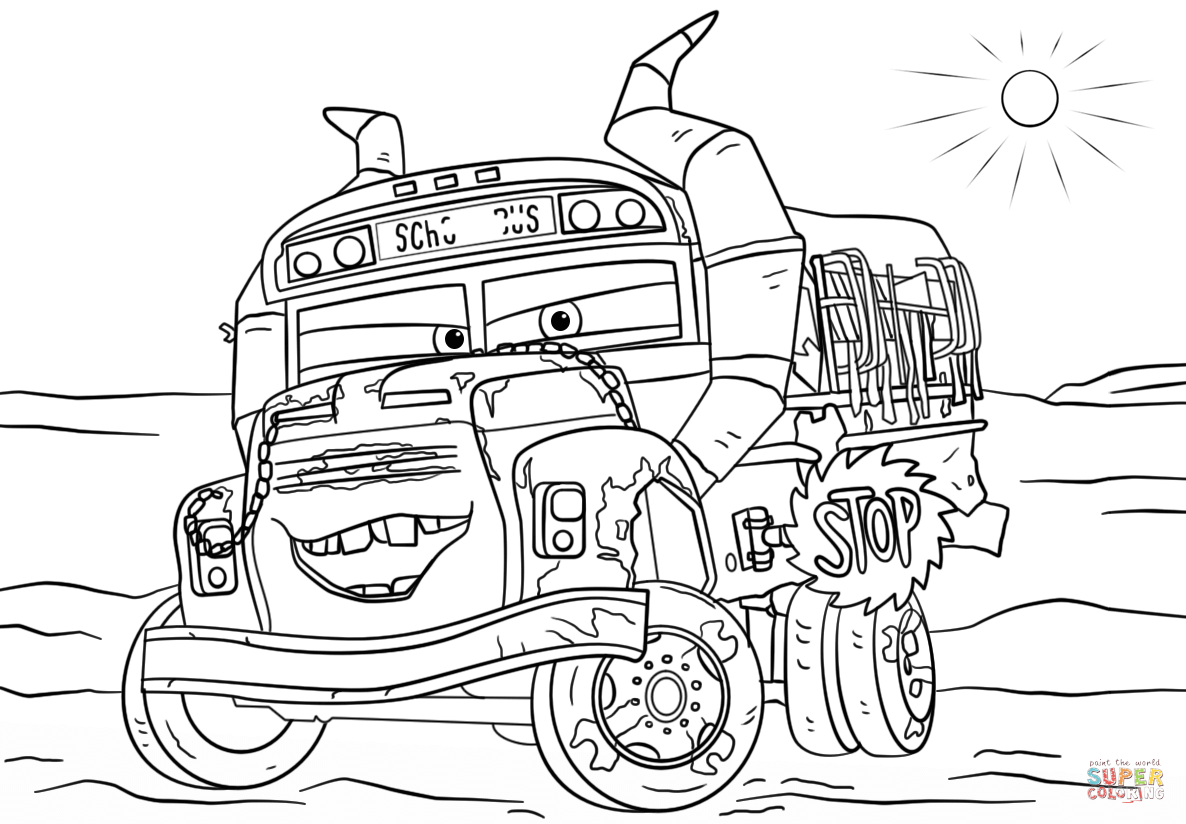 Miss Fritter From Cars 3 Coloring Page Free Printable Coloring Pages Disney Coloring Pages Truck Coloring Pages Cars Coloring Pages