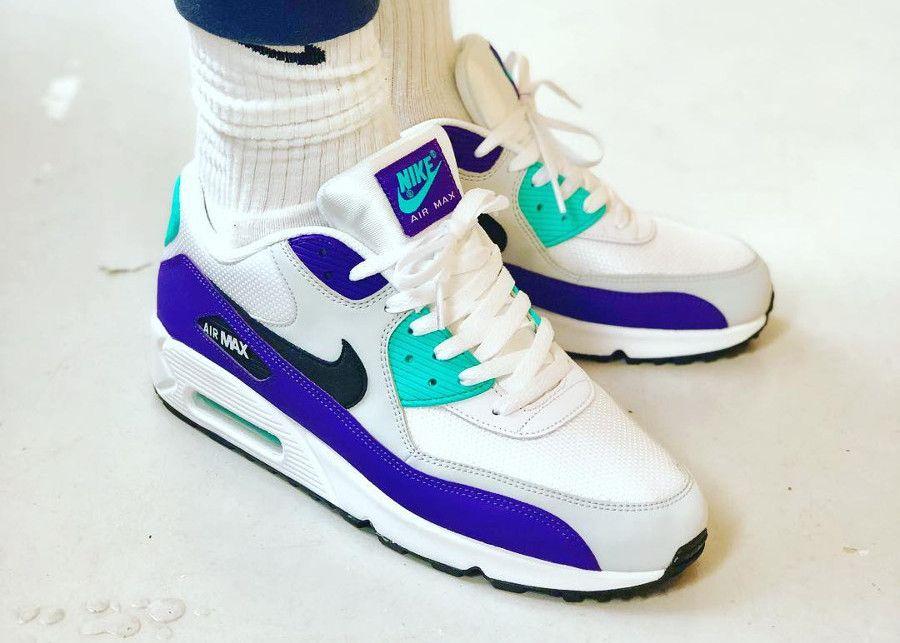 Nike Air Max 90 Essential 'Grape' White Hyper Jade Purple | Nike ...