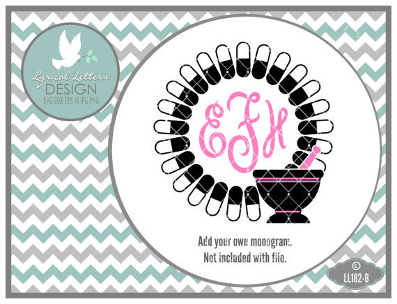 Pharmacy Monogram Frame Pharmacist Technician Ll B  Svg  Cut