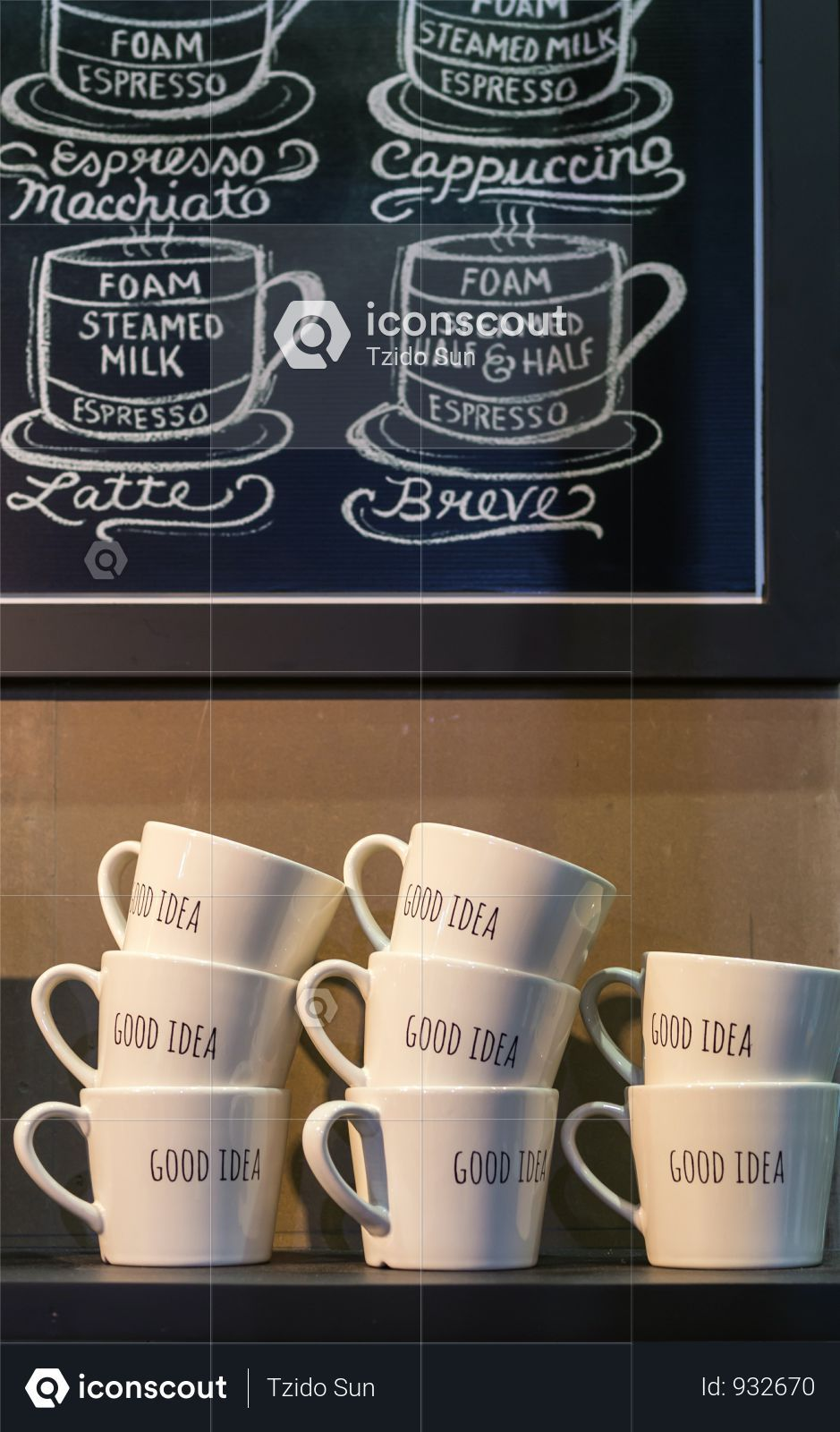 Premium Coffee Cups With Good Idea Wording On The Shelf In Coffee
