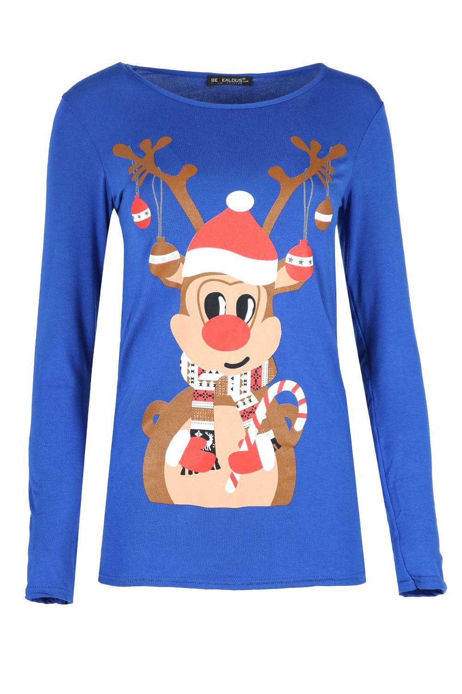 Oops Outlet Womens Cap Sleeve T Shirt Ladies Santa Reindeer Snowflake Stretch Round Neck Top