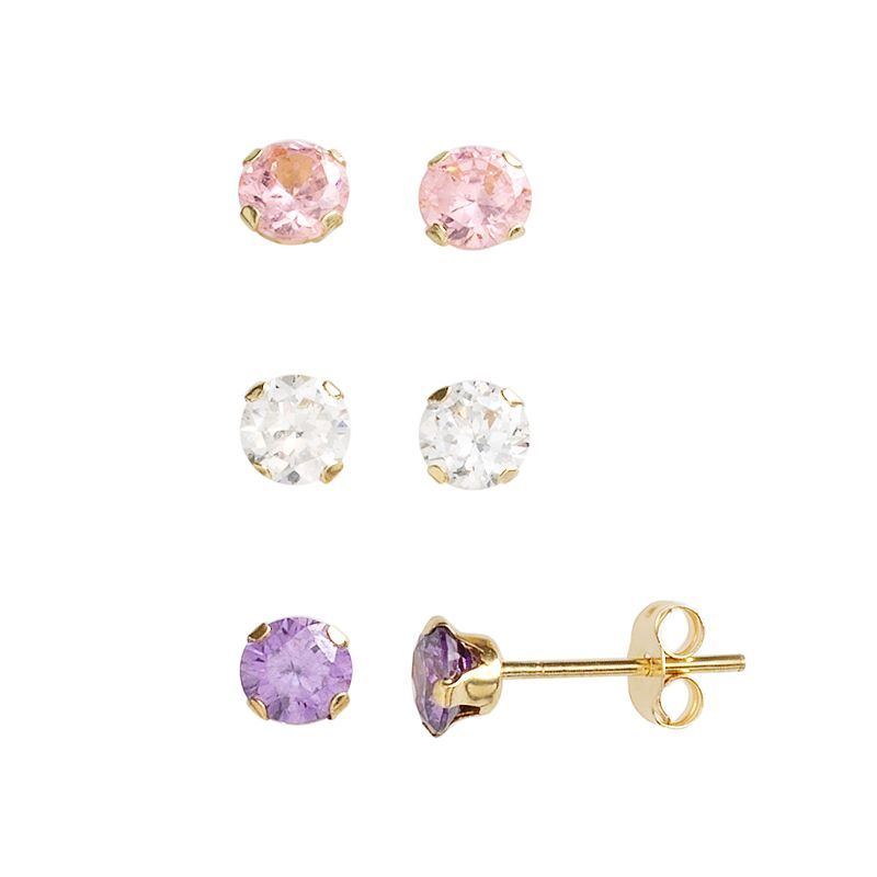 10k Gold Cubic Zirconia Stud Earring Set Products Earring Set Stud Earrings Earrings