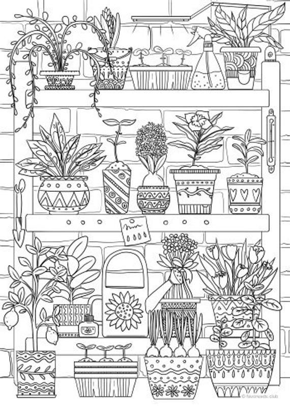 Plants Printable Adult Coloring Page From Favoreads