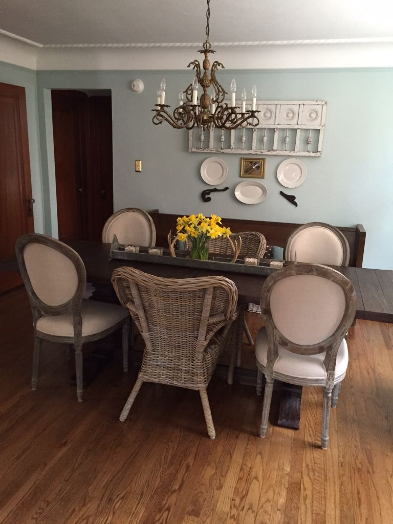 My Spring Dining Room W New Chairs World Market Paige Round Back In Natural Linen Its Been And We Still Love The Arcadia Extension Table