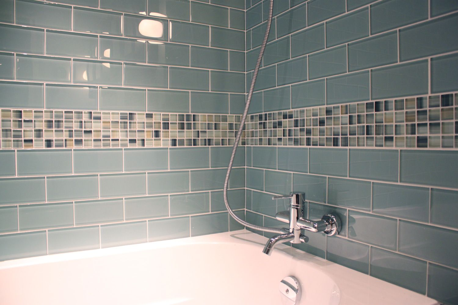 Seaside Blue 3x6 Glass Subway Tiles | Subway tiles, Tile tub ...