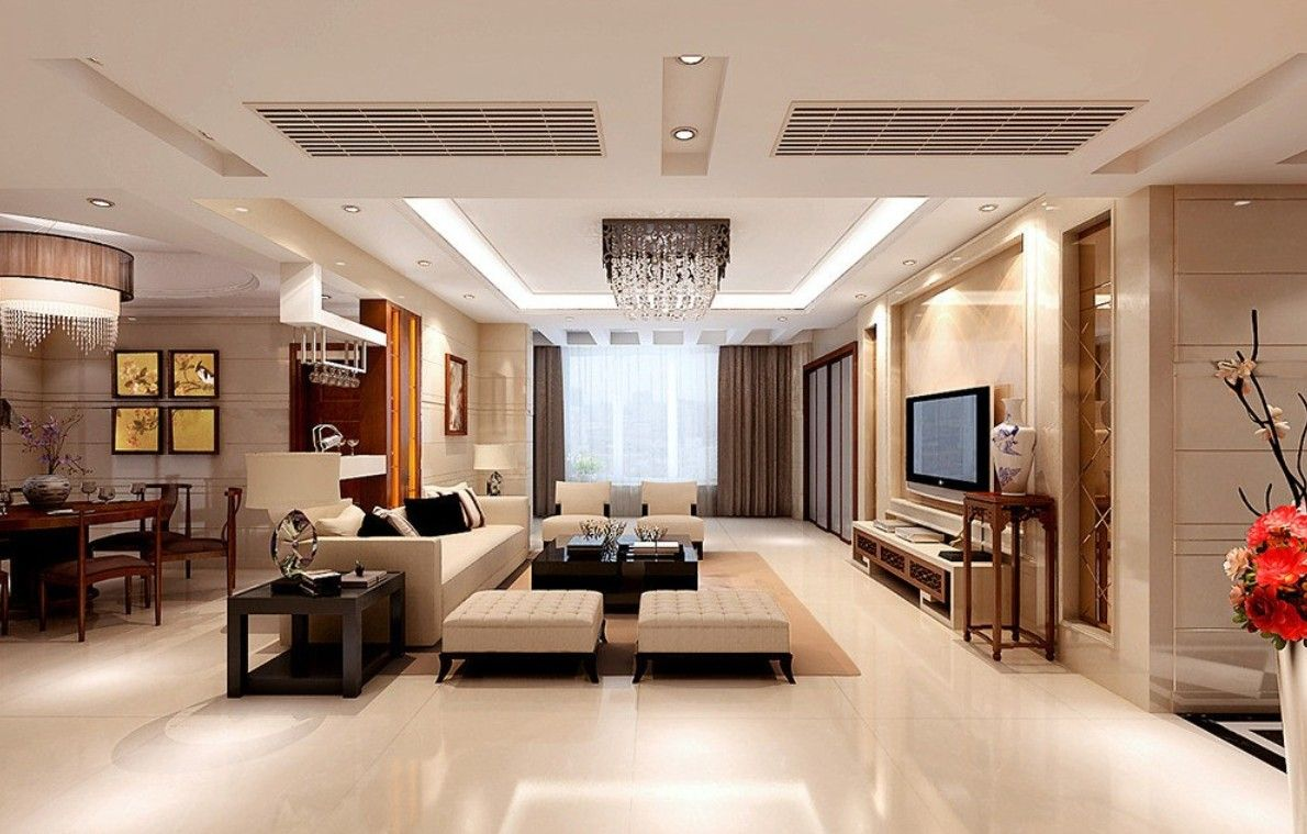 Interior Living Room And Dining Interiors Design Ideas With Ceramics Floor Beige Wall Color Theme Combine White Sofas Backless Chairs Also