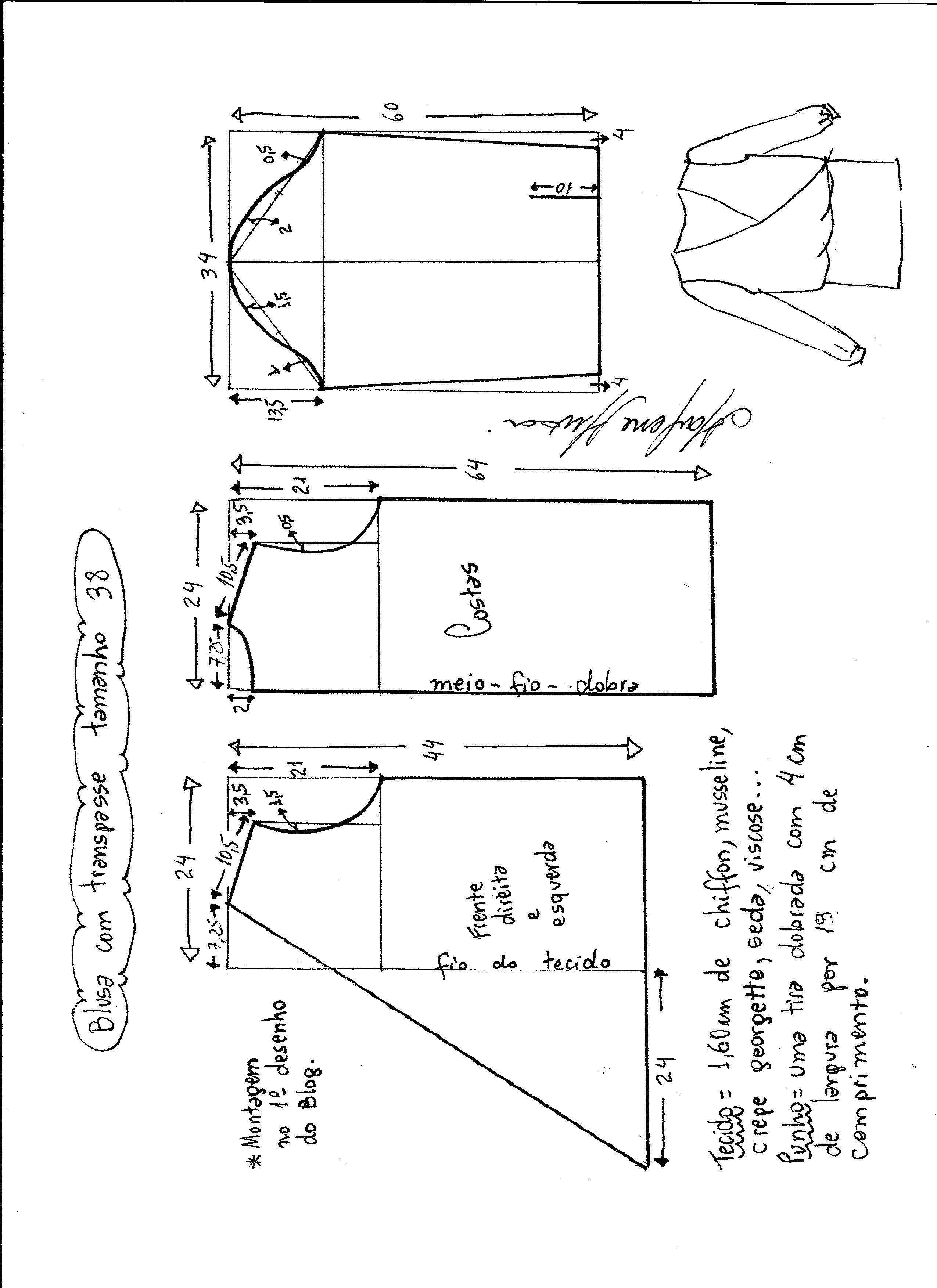 Patrón de blusa cruzada | Patrones | Sewing, Sewing patterns y ...