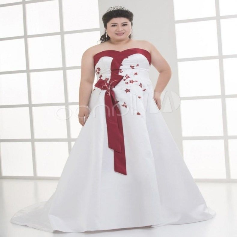 f3975354580 Red And White Plus Size Wedding Dresses Pluslook Eu Collection In White  Wedding Dress With Red Sash by thisbestidea