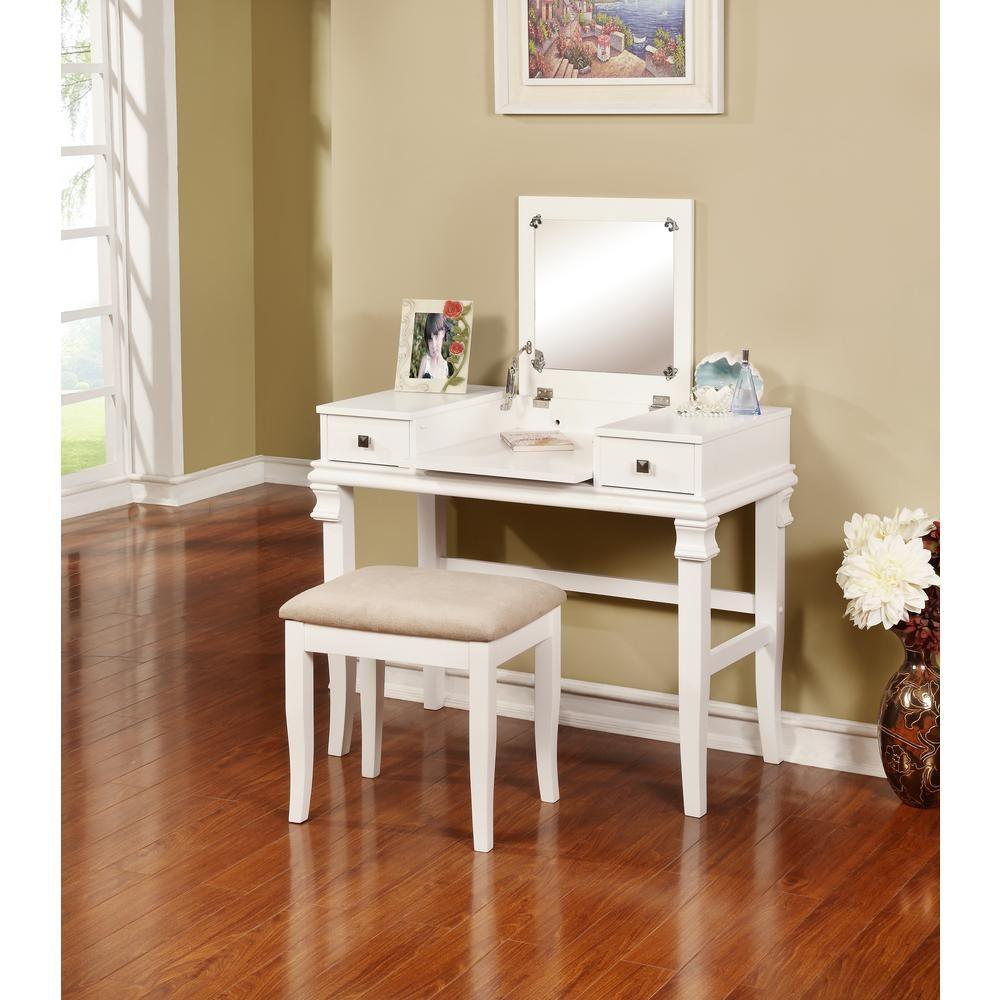 Linon home decor angela piece white vanity set products