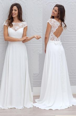 Gorgeous Cap Sleeves Lace Chiffon Ivory Prom Dress Gorgeous Formal Evening Gown, Bridal Gown Elegant Prom Gown Ivory Wedding Dress #lacechiffon