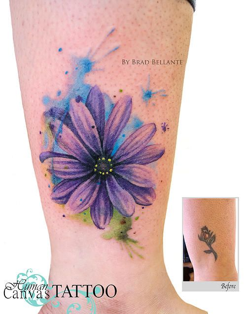 Watercolor Flower Cover Up Tattoo Human Canvas Tattoo Brad