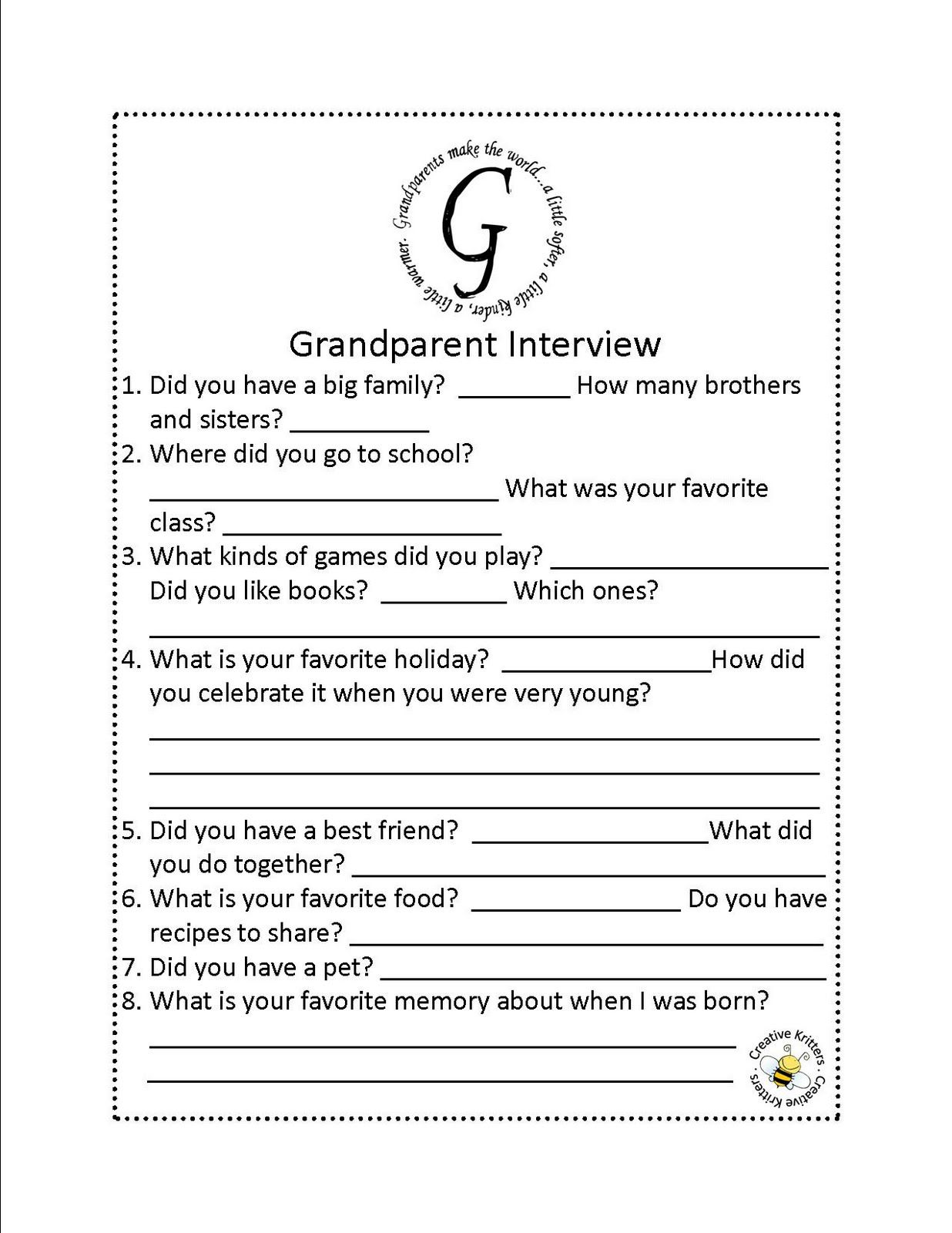 creative kritters grandparents day grandparent interview