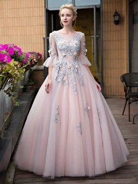 31cefd73e3a Scoop Ball Gown Appliques Sweep Train Quinceanera Dress