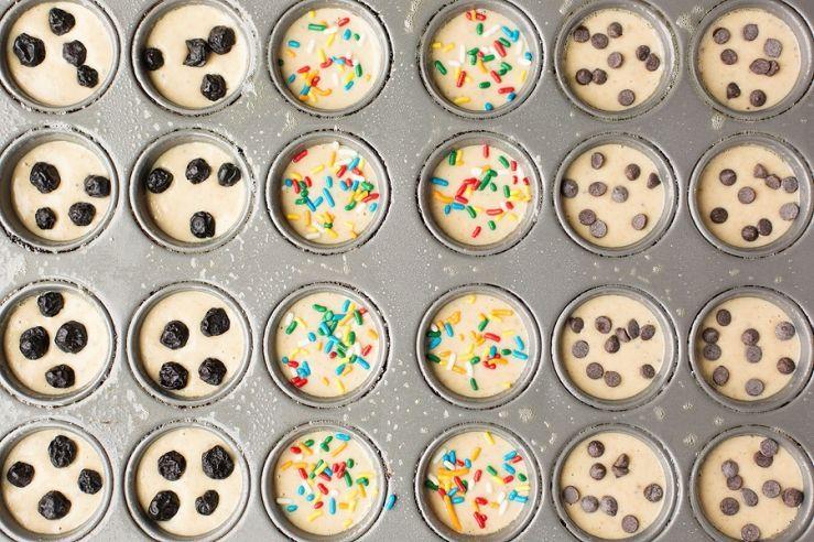Mini Pancake Bites by Corina Nielsen #proteinpowderpancakes Make Ahead Breakfasts; Protein powder pancakes w/ Multivitamin sprinkles #proteinpowderpancakes