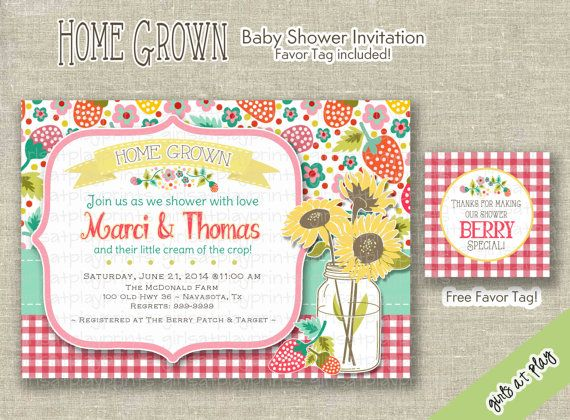 Farm Baby Girl Shower Invitation Invite Sunflower by girlsatplay, $15.00 #babyshowergirl #bridalshower #gingham