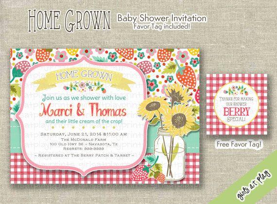 Farm Baby Girl Shower Invitation Invite Sunflower by girlsatplay, $15.00 #babyshowergirl #bridalshower #gingham