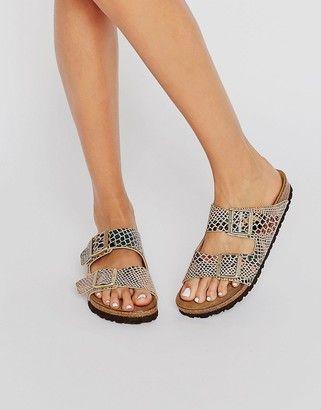 6fe0fb783d9ad Birkenstock Arizona Shiny Snake Print Narrow Fit Flat Sandals ...