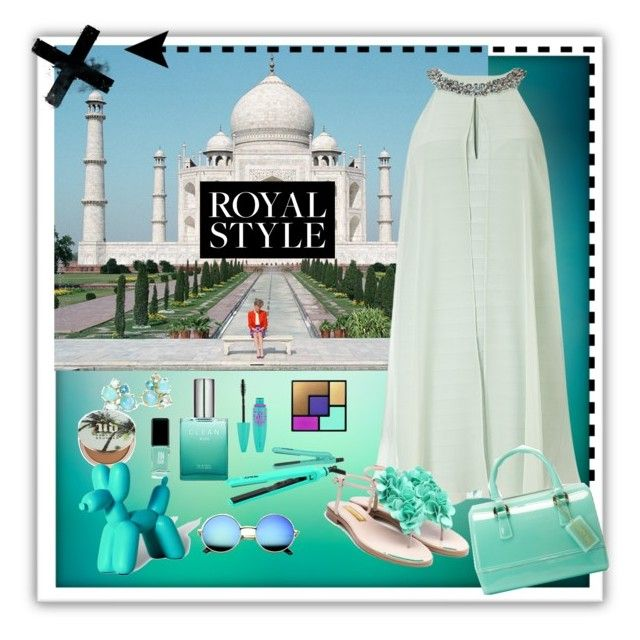 """""""royal trip"""" by tiannaloved ❤ liked on Polyvore featuring Adrianna Papell, Rupert Sanderson, Furla, Yves Saint Laurent, Lorion, Maybelline, Jin Soon, Ippolita, Urban Decay and Imm Living"""