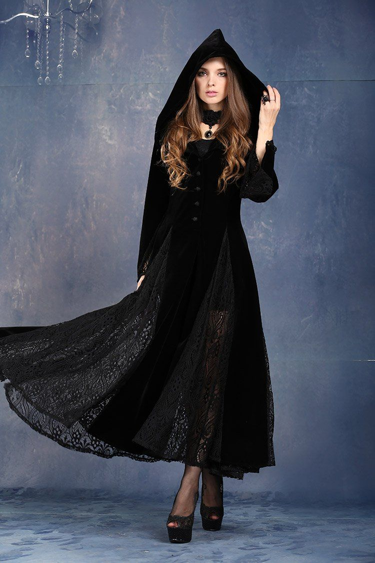 Dark in love victorian gothic vampire gown long velvet and lace