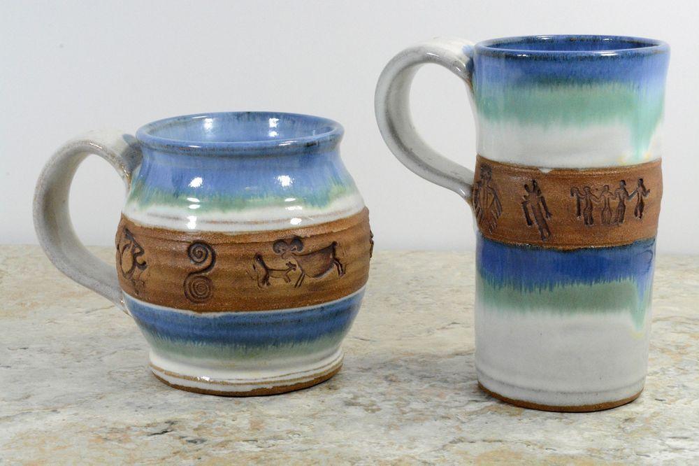 ... Handmade Coffee Mugs Studio Art Pottery Southwestern Design Large 16oz  14oz ...