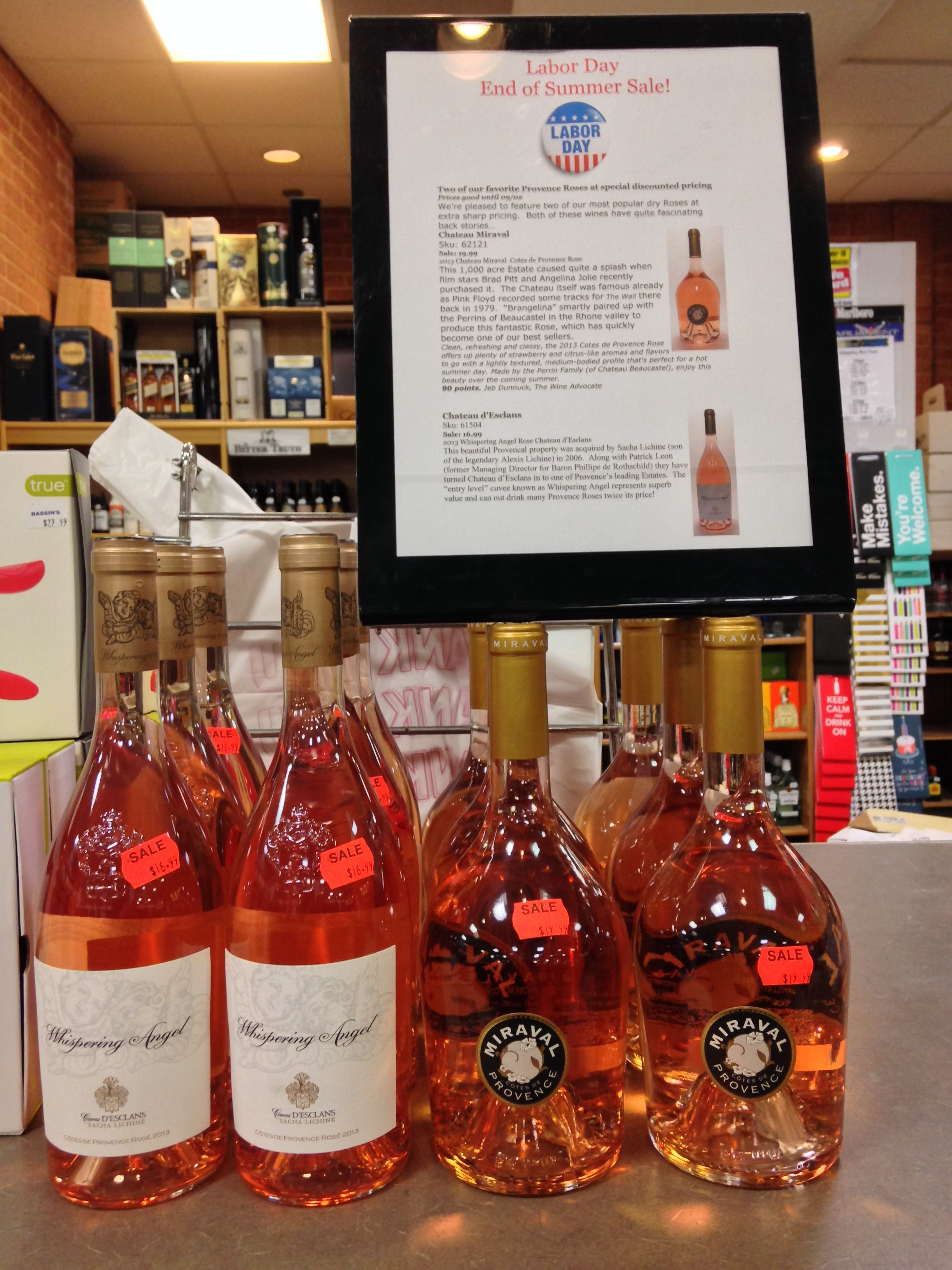 Labor Day End Of Summer Sale Two Of Our Favorite Provence Roses At Special Discounted Pricing Prices Good Until 09 02 We Re P Wines Summer Sale Drying Roses