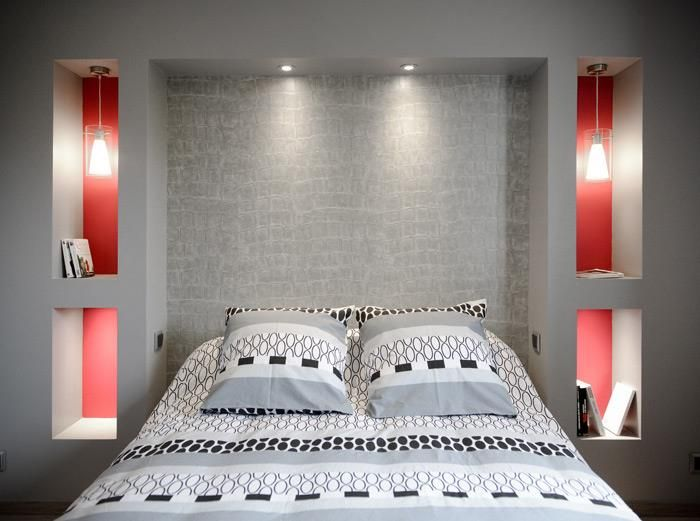 Modern style bedroom with in-walls bed tables, 3D grey headboard and