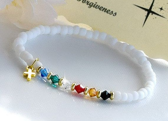 3b34f461082c Salvation Bracelet Stretchable White Matte Beads Swarovksi Crystals ...