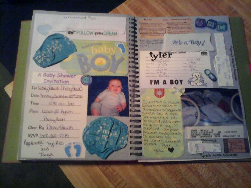 Smashbook Page My Son Tyler Has Birth Announcement Envelope With Ultrasound Pics Inside Crib Card A P Baby Shower Invitations Smash Book Pages Smash Book