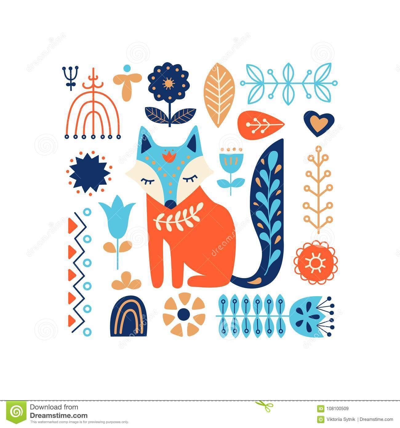 Nordic Ornaments Folk Art Pattern Scandinavian Style Pattern Art Modern Folk Art Scandinavian Folk Art
