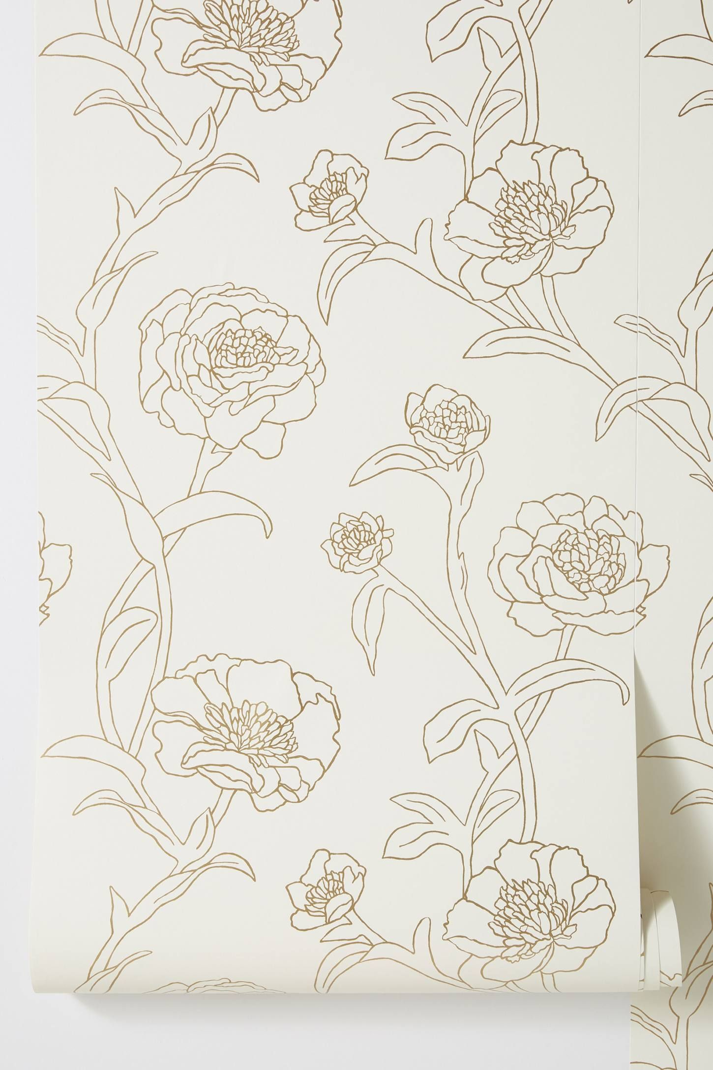 Gold Leaf Peonies Wallpaper Peony wallpaper, Gold wall