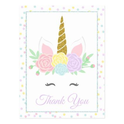 Pretty Pink Purple Unicorn Party Thank You Cards