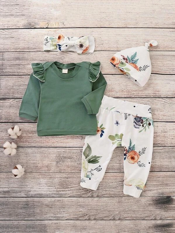 Photo of Toddler Girls Frill Tee & Floral Print Pants & Headband & Hat