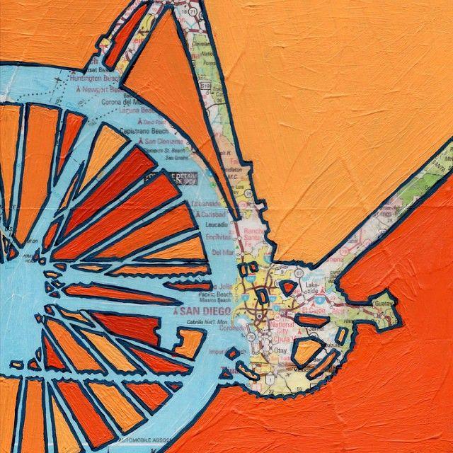 Uma Arte Fantastica Do Mapa De San Diego Em Forma De Bike Para
