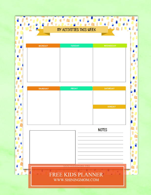 Free Printable Kids Planner : Cute And Colorful! Kids Planner, Homeschool  Lesson Planner, Kids Calendar
