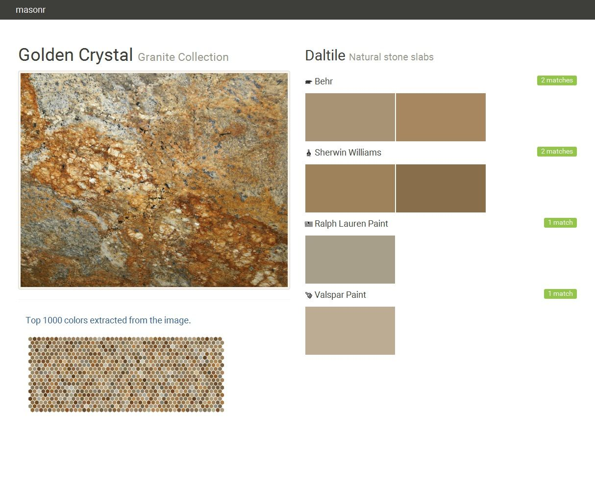 Superior Golden Crystal. Granite Collection . Natural Stone Slabs. Daltile. Behr.  Sherwin Williams. Ralph Lauren Paint. Valspar Paint. Click The Gray Visit  Button To ...